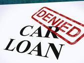 Car Loan Denied Stamp Shows Auto Finance Denied — Stock Photo