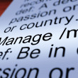 Manage Definition Closeup Showing Management — Stock Photo