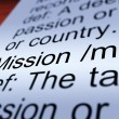 Mission Definition Closeup Showing Task Or Goal — Stock Photo