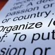 Organize Definition Closeup Showing Managing — Stock Photo
