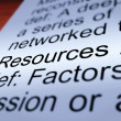 Stock Photo: Resources Definition Closeup Showing Materials And Assets