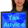 Tax Advice Computer Message Shows Taxation Help Online - Stock Photo