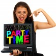 Royalty-Free Stock Photo: Girl With Party Time On Screen Showing Celebration