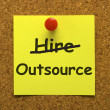 Foto Stock: Outsource Note Showing Subcontracting Suppliers And Freelance