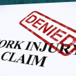 Work Injury Claim Denied Shows Medical Expenses Refused — Stock Photo
