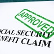 Stock Photo: Social Security Claim Approved Stamp Shows Social Unemployment B