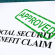 Social Security Claim Approved Stamp Shows Social Unemployment B — Stock Photo #11106026