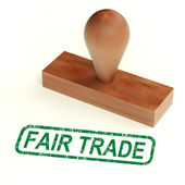 Fair Trade Rubber Stamp Shows Ethical Products — Stock Photo