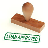 Loan Approved Rubber Stamp Shows Credit Borrowing Ok — Stock Photo
