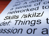 Skills Definition Closeup Showing Aptitude And Competence — Stock Photo