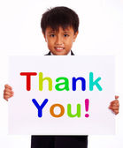 Thank You Sign As Thanks Message From Kid — Stock Photo