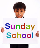Sunday School Sign Showing Christian Kids Activity — Stock Photo