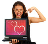 Hearts On Computer Screen Showing Online Dating — Stock Photo