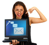 Email Envelopes On Screen Showing Emailing Or Contacting — Stock Photo
