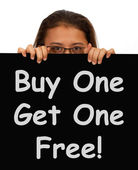 Buy One Get 1 Free Sign Shows Discounts — Stock Photo