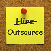 Outsource Note Showing Subcontracting Suppliers And Freelance — Zdjęcie stockowe