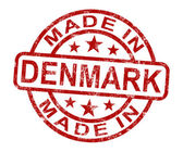 Made In Denmark Stamp Shows Danish Product Or Produce — Stock Photo