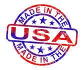 Made In USA Stamp Shows American Products Or Produce — Stock Photo
