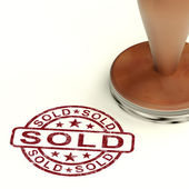 Sold Stamp Showing Selling Or Purchasing — Stock Photo