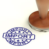 Import Stamp Showing Importing Goods And Commodities — Stock Photo