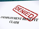 Arbetslösheten gynnar påstående förnekade stämpel visar social trygghet vi — Stockfoto