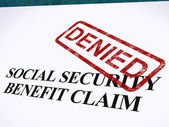 Social Security Claim Denied Stamp Shows Social Unemployment Ben — Stock Photo