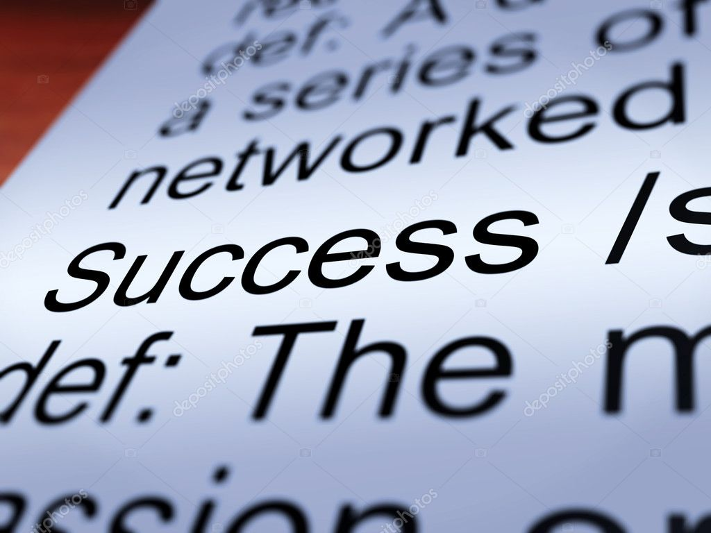 Success Definition Closeup Shows Achievements Or Attainment Of Wealth — Stock Photo #11105295