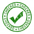 Checked Stamp With Tick Shows Quality And Excellence — Stock Photo #11222533
