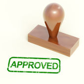 Approved Rubber Stamp Shows Quality Excellent Products — Stock Photo