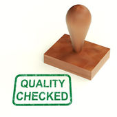 Quality Checked Stamp Shows Product Tested Ok — Stock Photo