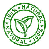 Hundred Percent Natural Stamp Shows Pure And Genuine Products — Stock Photo