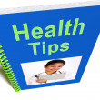 Health Tips Book Shows Wellbeing Or Healthy — Stock Photo
