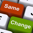 Stock Photo: Change Same Keys Show Decision And Improvement