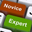 Stock Photo: Novice Expert Keys Show Amateur Or Professional