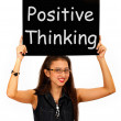 Stock Photo: Positive Thinking Sign Shows Optimism Or Belief
