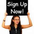 Sign Up Now Message Shows Immediate Registration — Stock Photo