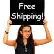 Stock Photo: Free Shipping Board Shows No Charge To Deliver