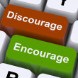 Stock Photo: Discourage Or Encourage Keys To Motivate Or Deter