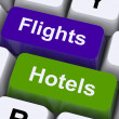 Stock Photo: Flights And Hotel Keys For Overseas Vacations