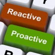 Proactive And Reactive Keys Show Initiative And Improvement - Стоковая фотография