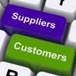 Suppliers And Customers Keys Show Supply Chain Or Distribution - Stock Photo