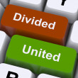 Divided And United Keys Show Partnership Or Teamwork — Stock Photo