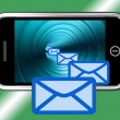 Stock Photo: Email Envelopes On Mobile Showing Emailing Or Contacting