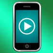 Video Play Sign On Mobile For Playing Media On Phone — Stock Photo #11843536