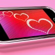 Hearts On Mobile Phone Screen Shows Online Dating — Stock Photo