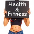 Health And Fitness Sign Shows Exercise For Getting Healthy - Stock Photo