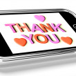 Thank You And Hearts Message As Thanks Received On Mobile — Stock Photo #11843637