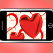 Red Hearts On Mobile Show Love And Romance — Stockfoto