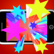 Colorful Stars Bursting From Mobile Phone — Stock Photo #11843660