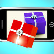 Gift Boxes Coming From Mobile Phone Shows Buying Presents Online — Stock Photo